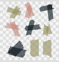 Scotch adhesive tape pieces isolated vector