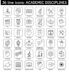Set academic disciplines icons vector