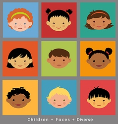 Set cute faces ethnic children flat style vector