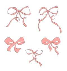 Set hand drawn pink bow vector