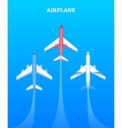 Set of Airplanes Flying in Blue Sky Avia Poster vector