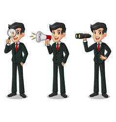 Set of businessman in black suit looking for vector