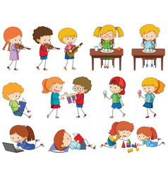 Set of doodle kids character vector