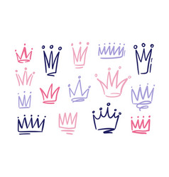 set of drawings of doodle abatract crowns symbols vector image
