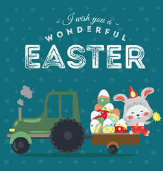 set of easter bunny drive car with truck vector image