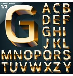 Set of golden 3d alphabet vector