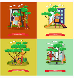 Set of kindergarten kids posters in flat vector