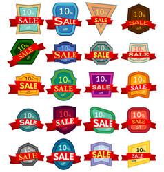 Set of twenty discount stickers vector