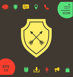 shield with arrows protection icon vector image