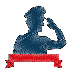 Silhouette military saluting with ribbon vector