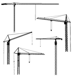 Silhouettes of construction crane tower vector