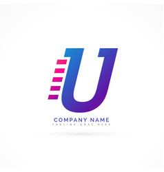 speeding letter u logo design vector image