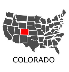 State of colorado on map of usa vector