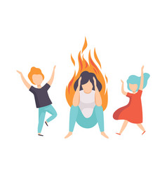 Stressed tired mother and her kids woman on fire vector
