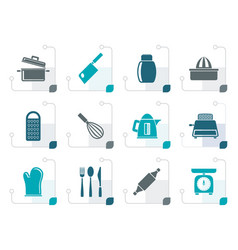 Stylized kitchen and household utensil icons vector