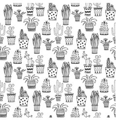 succulent and cactus pattern doodle flowers in vector image
