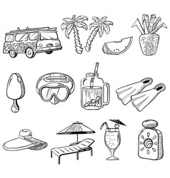 Summer vacations doodle icons set vector