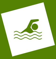 Swimming water sport sign white icon vector