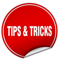 Tips tricks round red sticker isolated on white vector