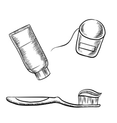Toothpaste toothbrush and dental floss vector image