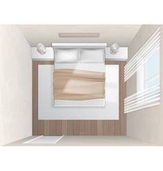 Top view bedroom with beige walls vector