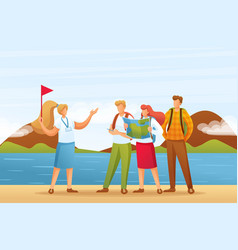 Tourists on a tour with guide flat 2d characters vector