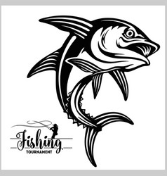 tuna big fishing on white logo vector image