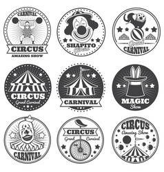 Vintage magic circus labels holiday show carnival vector