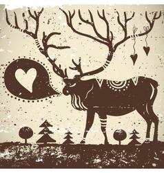 Wild animal grungy background deer vector