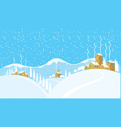 winter landscape with a snowy village on the hills vector image