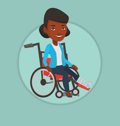 woman with broken leg sitting in wheelchair vector image