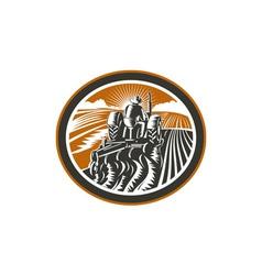 Farmer Driving Tractor Plowing Field Retro vector image vector image