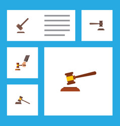 Flat icon court set of legal court tribunal and vector