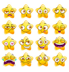 funny cartoon yellow star character stickers vector image