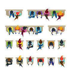 people sitting on chairs vector image vector image