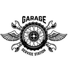 service station emblem template car wheel with vector image