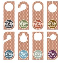 Set Of Door Hanger Please Do Not Disturb vector image