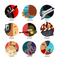 genre cinema set icons cinematography comedy flat vector image