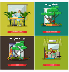 Set of first assistance posters in flat vector