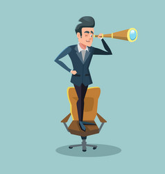 successful businessman looking through spyglass vector image