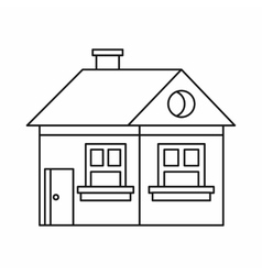 Cottage with a chimney icon outline style vector image