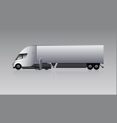 electric truck with trailer vector image