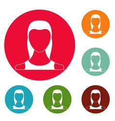 female avatar icons circle set vector image