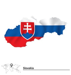 Map of Slovakia with flag vector image vector image