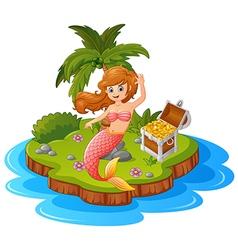 mermaid in treasure island vector image