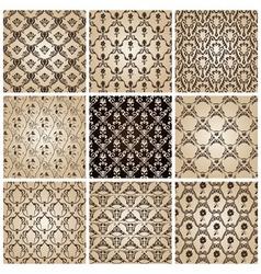 seamless vintage backgrounds set brown baroque wal vector image