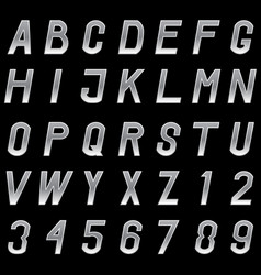 set of grey metal alphabet letters and numbers vector image