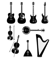 stringed musical instruments black outline vector image