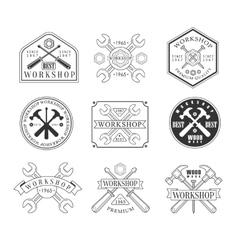 Wood Workshop Black And White Emblems vector image vector image