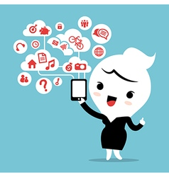 business woman with smartphone cloud social media vector image